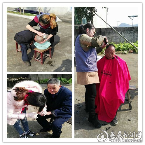 志愿者们为老人洗头、理发、剪指甲
