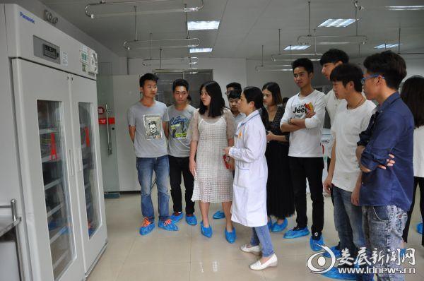 图为供血科工作人员正在给血站讲解血液发放流程