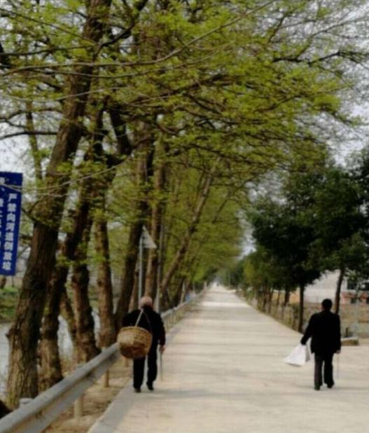 清泉村村民在公路上清理零星垃圾