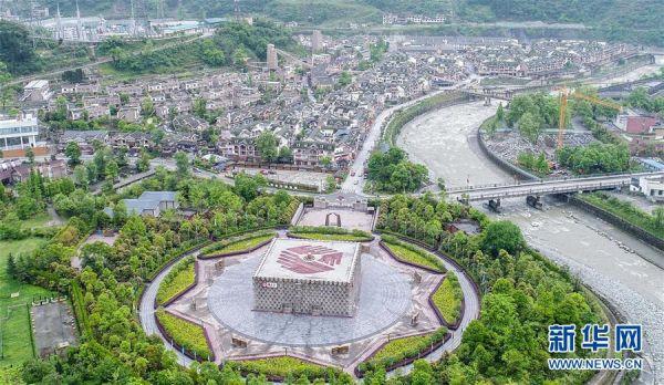 这是四川省汶川县映秀镇风貌(4月25日无人机拍摄)。新华社记者 薛玉斌 摄