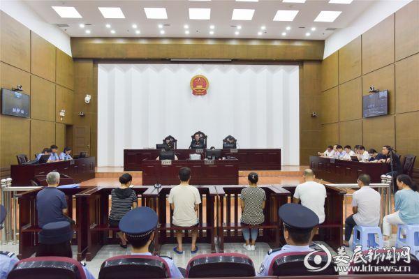 湖南鸿冠集团公司原董事长石江泳等7名被告人受审现场