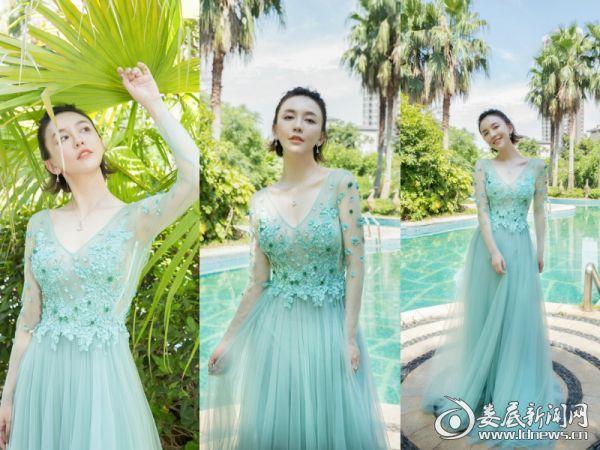 4.吕佳容绿色礼服甜到骨子里