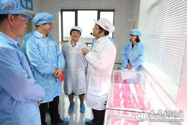 光电子产业孵化园新入园企业鼎晟光电负责人向李荐国一行介绍有关情况