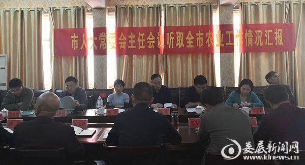 市人大常委会主任会议听取全市农业工作情况汇报,在农业局召开座谈会