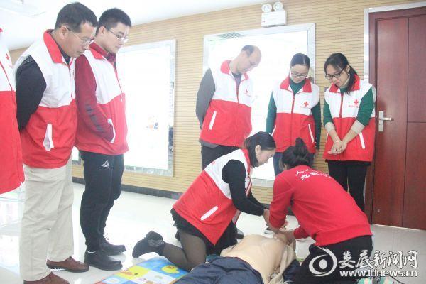 红十字会学员实地演练心肺复苏术