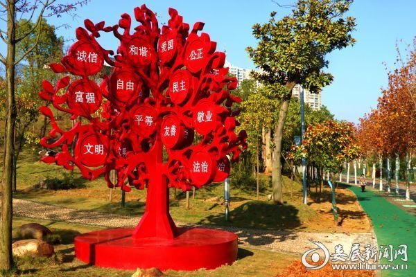 孙水公园法梧大道旁,一棵核心价值观之树