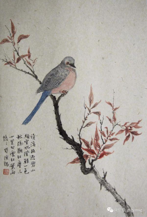(贺溪阳 《小憩》  国画  34.5x23cm)