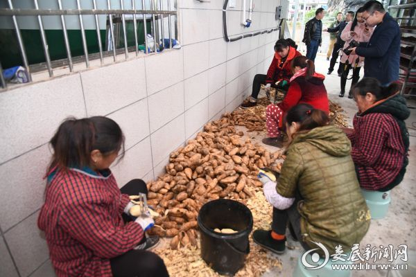扶贫户手工打造红薯片