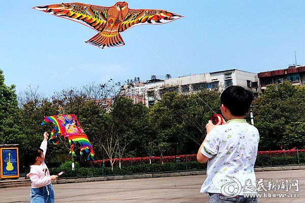 3月31日,小朋友们忙趁东风放纸鸢。熊又华 摄DSC_9005-