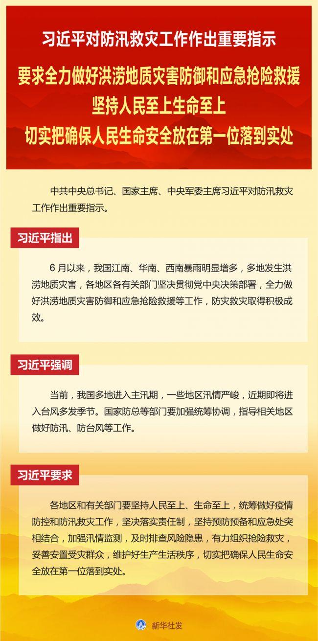 习近平对防汛救灾工作作出重要指示