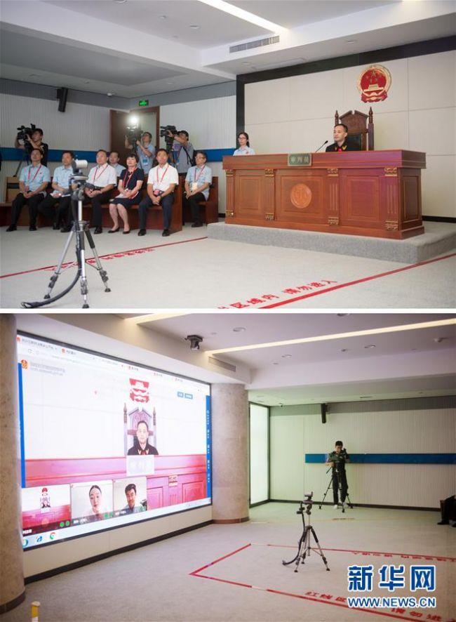 2017年8月18日,杭州互联网法院网上开庭审理一件涉及侵害作品信息网络传播权的纠纷案件(拼版照片)。 新华社记者 翁忻旸 摄