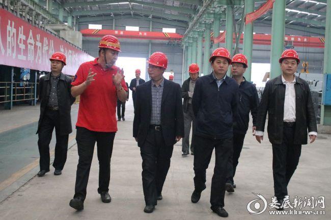 (图为湖南利钢年产50万吨镀锌带钢及镀锌管材生产线项目负责人汇报有关情况)