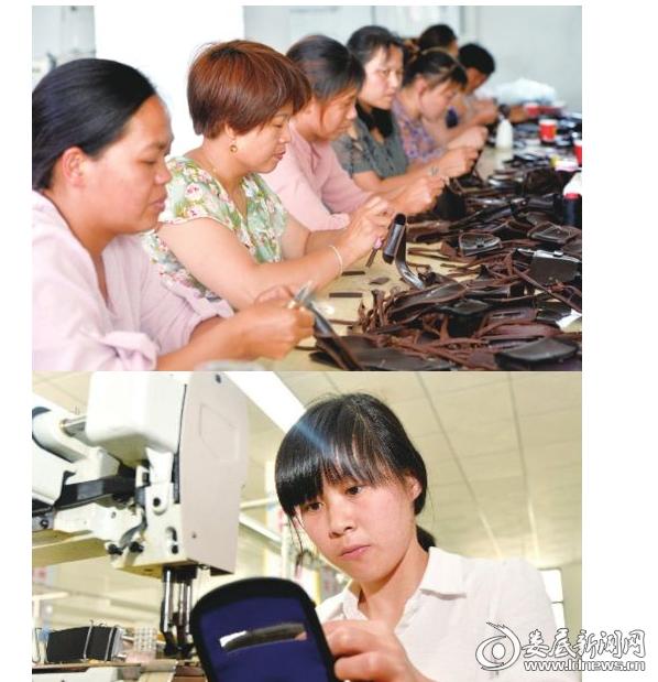 涟源市古塘乡湘鼎鞋业扶贫车间员工正在生产